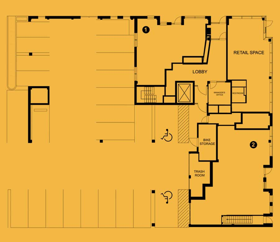 The 801 lower level floor plan for apartments, live/work units, and retail space to rent in Oak Park, IL