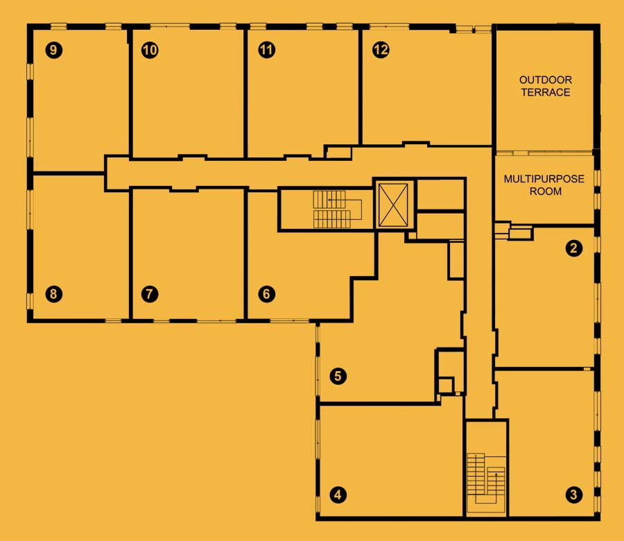 Floor plan for the third level of The 801 Oak Park, IL apartments, live/work rentals and retail space