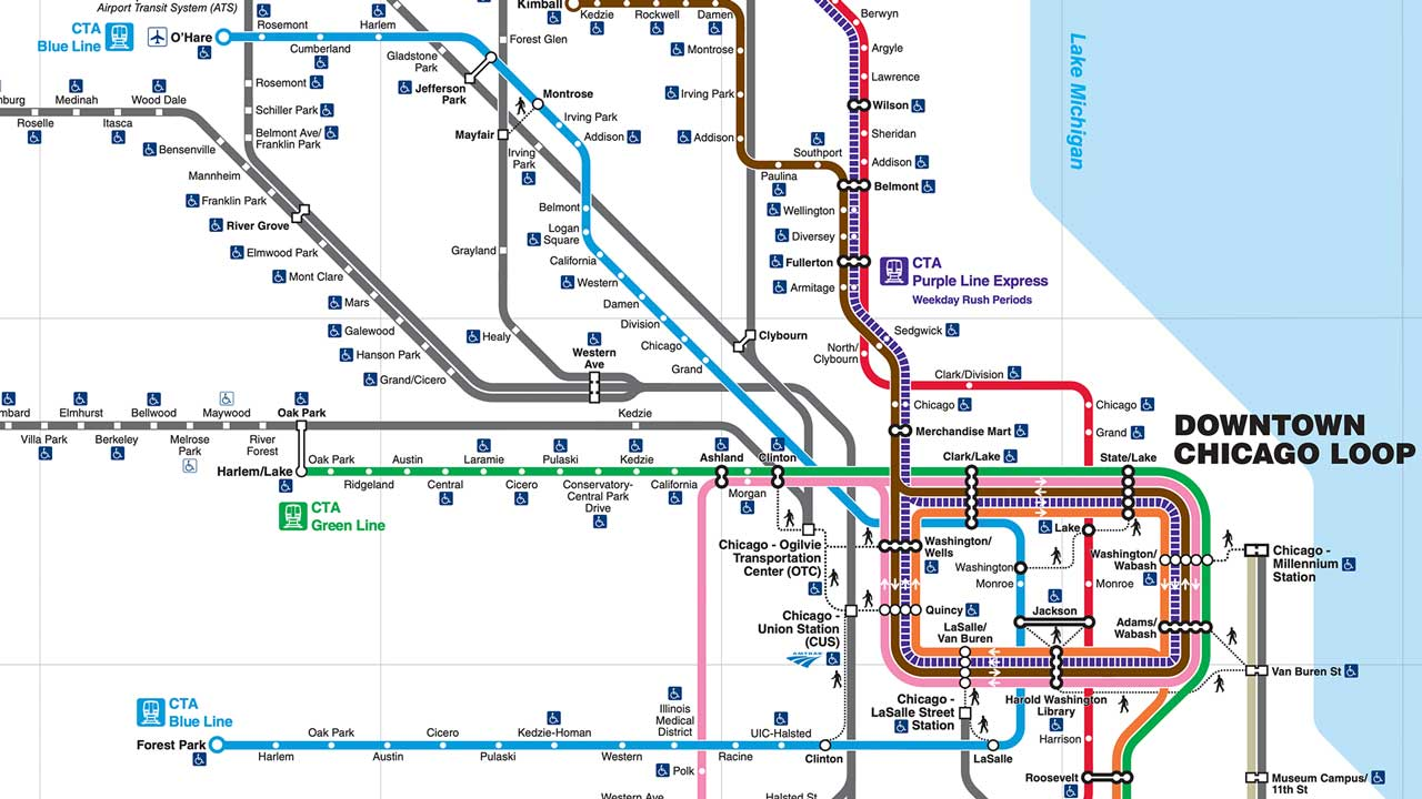 Detailed Transit Map for Northeastern Illinois