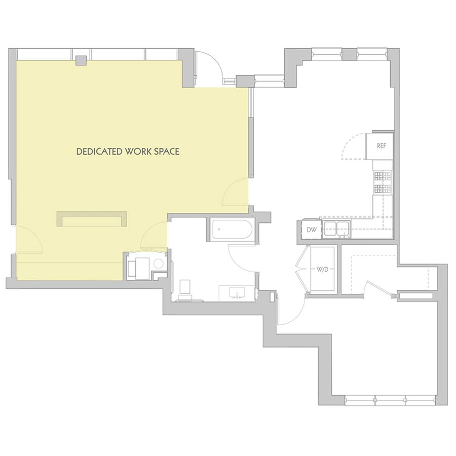 The 801 Floor Plan - Live/Work Unit Oak Park Avenue - 1 Bedroom/1 Bath 1,295 square feet
