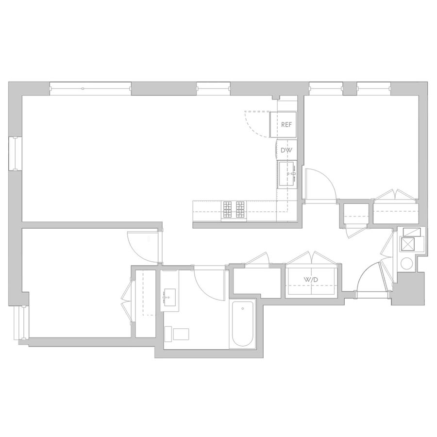 The 801 Floor Plan - Unit 201, 301 1 Bedroom/1 Bath 865 square feet