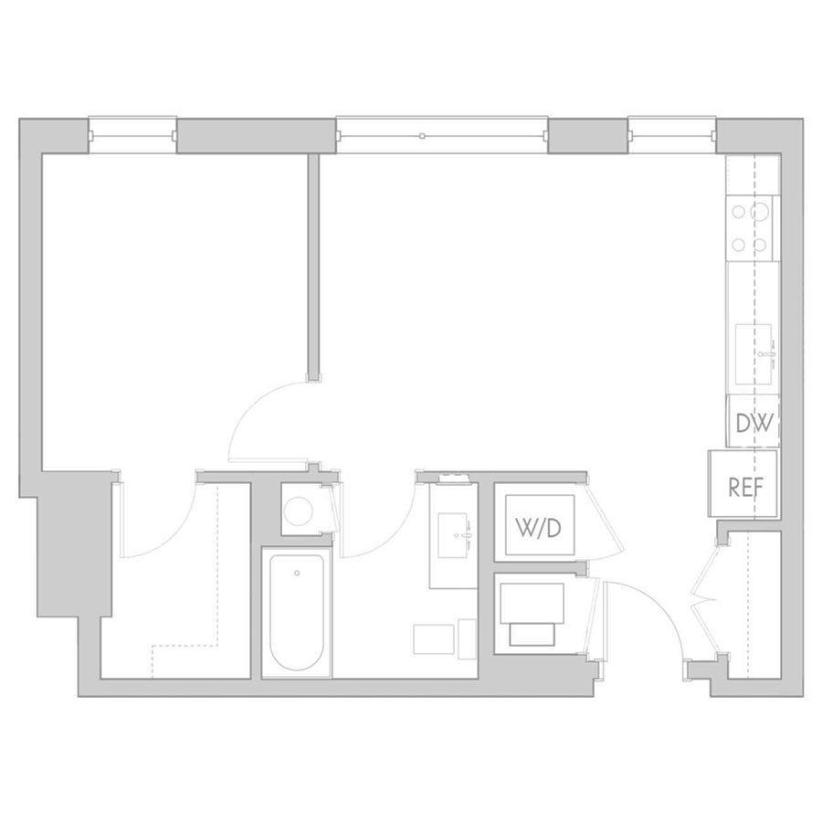 The 801 Floor Plan - Unit 202, 302, 402 1 Bedroom/1 Bath 550 square feet