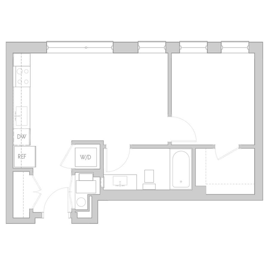 The 801 Floor Plan - Unit 203, 303, 403 1 Bedroom/1 Bath 530 square feet