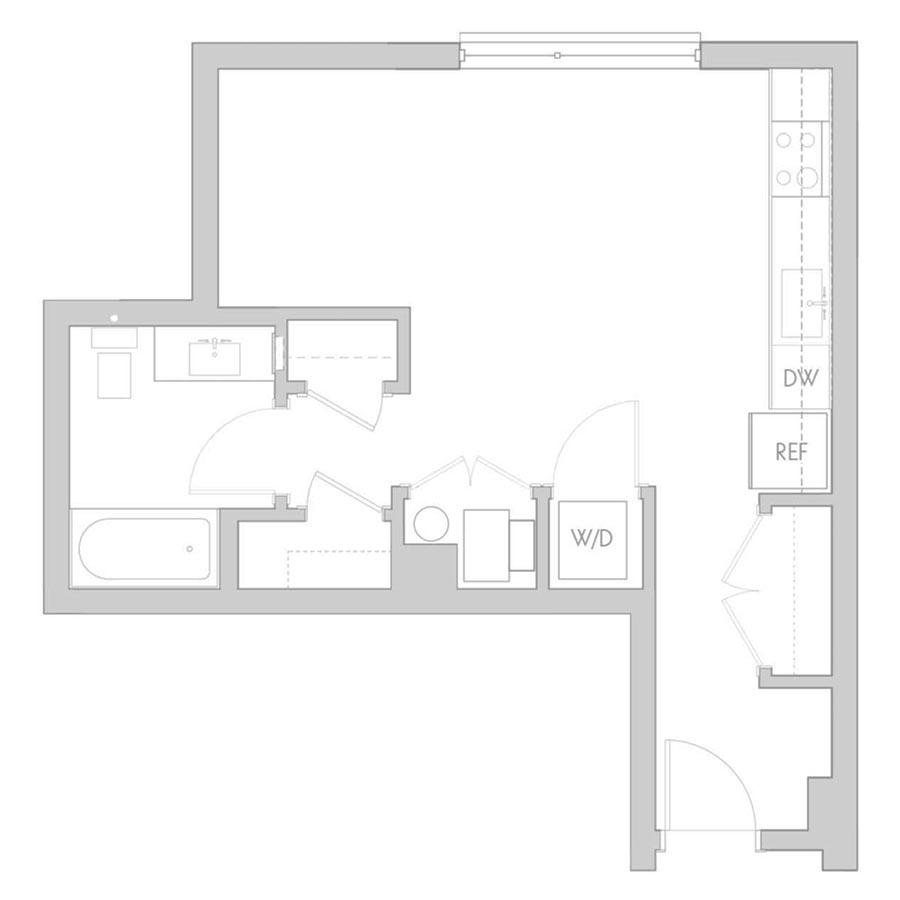 The 801 Floor Plan - Unit 206, 306, 406 Studio/1 Bath 435 square feet