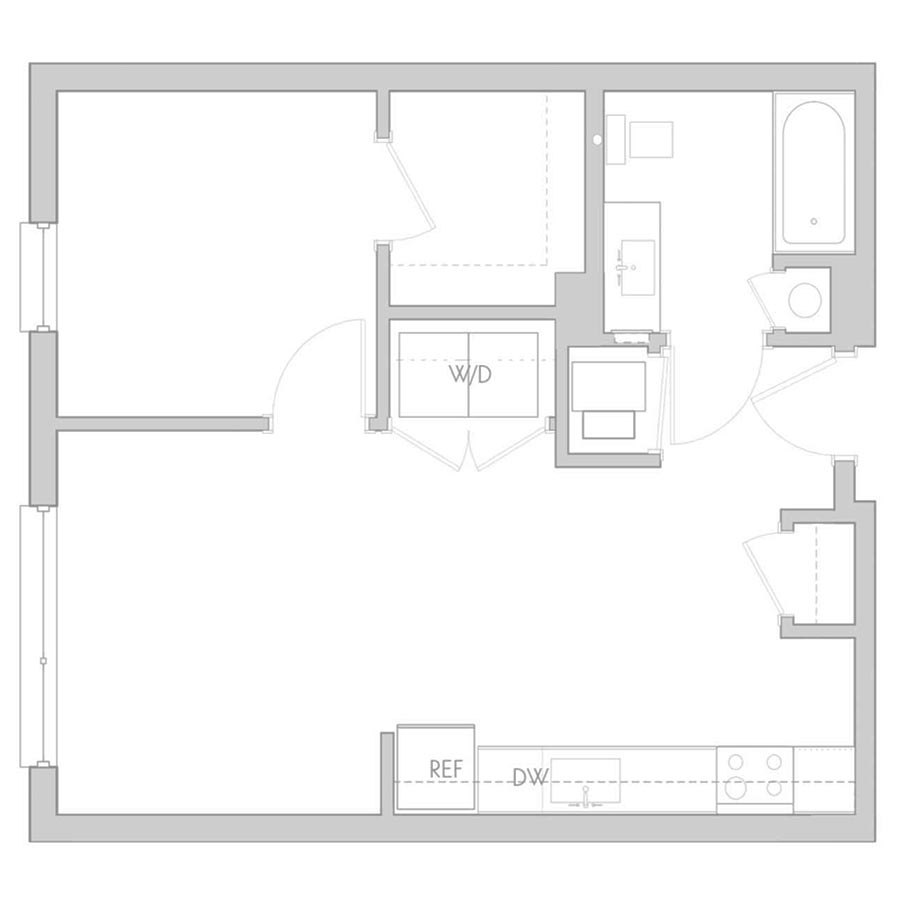 The 801 Floor Plan - Unit 207, 307 1 Bedroom/1 Bath 575 square feet