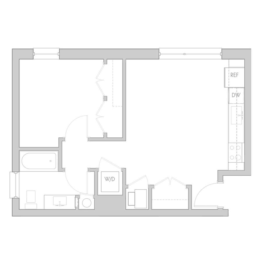 The 801 Floor Plan - Unit 208, 308, 408 1 Bedroom/1 Bath 535 square feet
