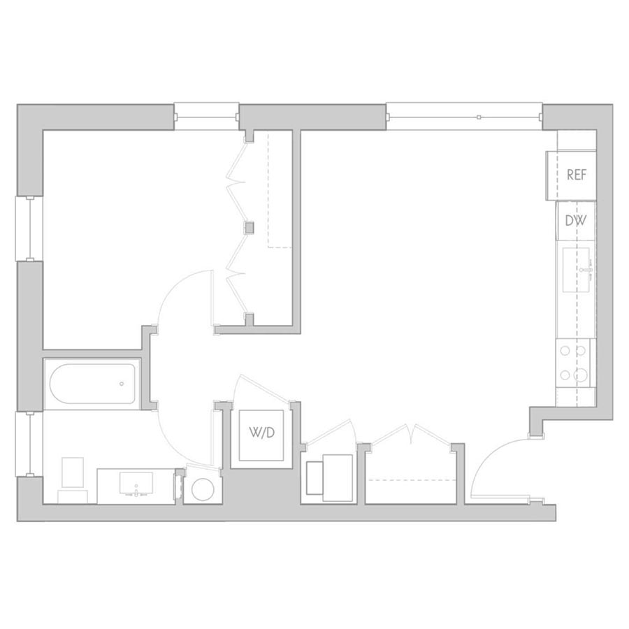 The 801 Floor Plan - Unit 209, 309, 409 1 Bedroom/1 Bath 535 square feet
