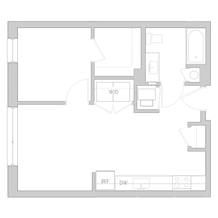 The 801 Floor Plan - Unit 210, 310, 410 1 Bedroom/1 Bath 575 square feet
