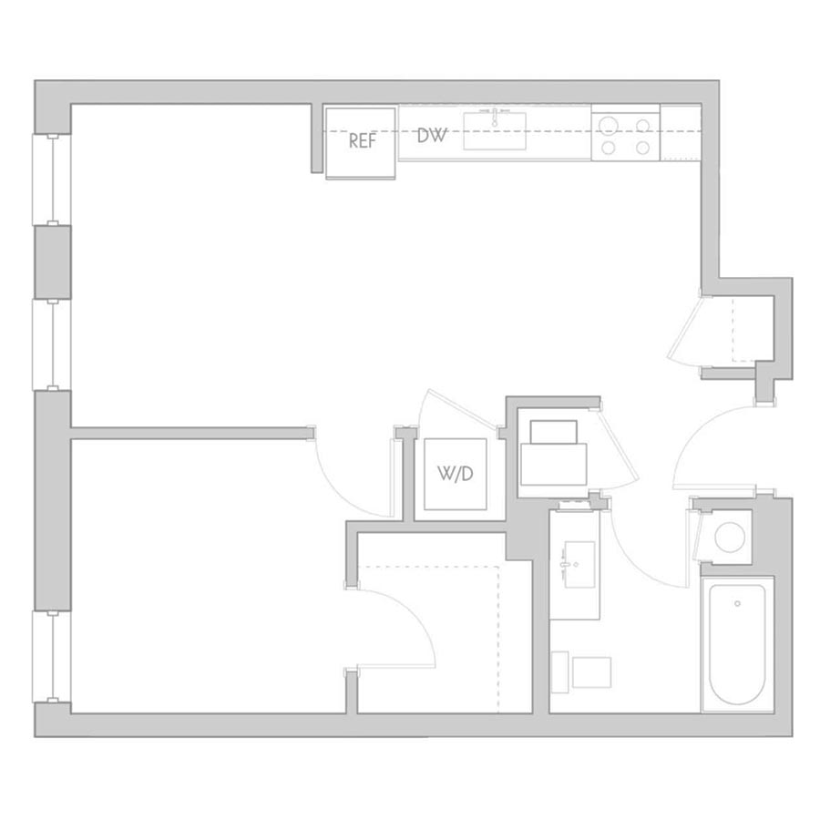 The 801 Floor Plan - Unit 211, 311, 411 1 Bedroom/1 Bath 575 square feet