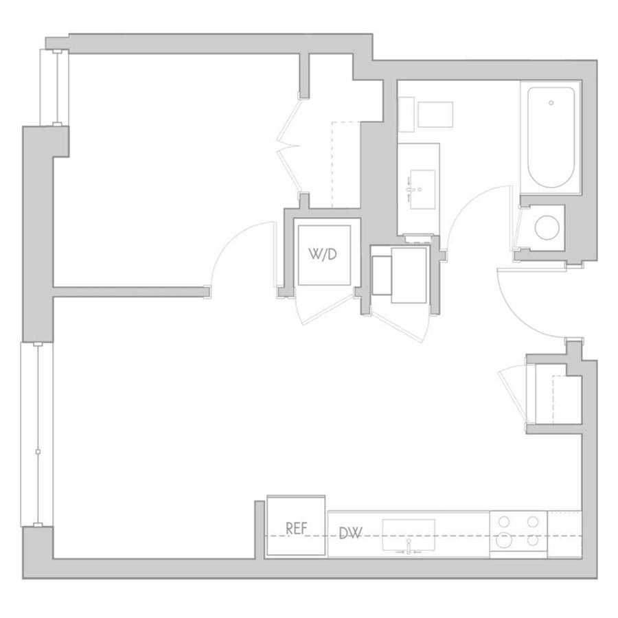 The 801 Floor Plan - Unit 212, 312 1 Bedroom/1 Bath 540 square feet