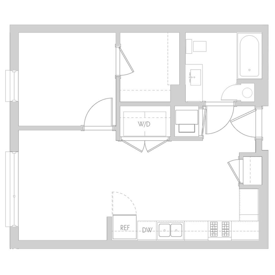 The 801 Floor Plan - Unit 407 1 Bedroom/1 Bath 575 square feet
