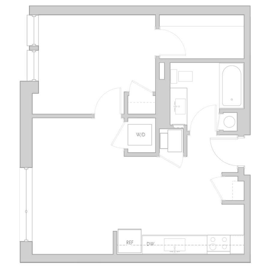 The 801 Floor Plan - Unit 412 1 Bedroom/1 Bath 540 square feet